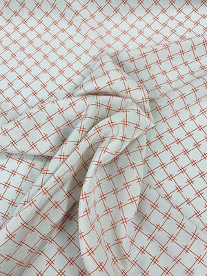 Lattice Crosshatch Printed Silk Crepe de Chine - Light Grey / Blood Orange