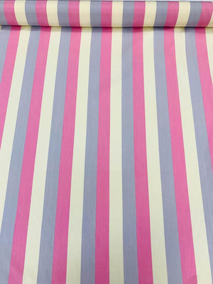 Vertical Striped Printed Heavy Silk Habotai - Pink / Cream / Lavender