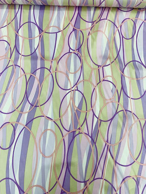 Rings and Waves Printed Fine Silk Twill - Lavender / Lilac / Pink / Taupe