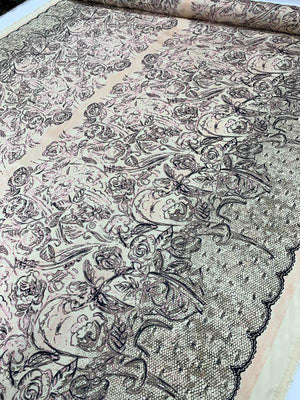 Floral and Lace-Scallop Double-Border Pattern Printed Silk Habotai - Blush / Black / Taupe / Pink