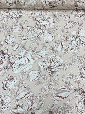 Romantic Floral Printed Silk Chiffon - Tan / White / Brown