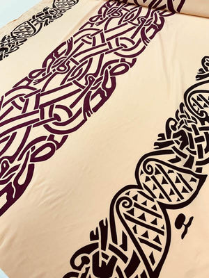 Hieroglyphic-Like Stretch Printed Silk Crepe de Chine - Nude / Black / Maroon