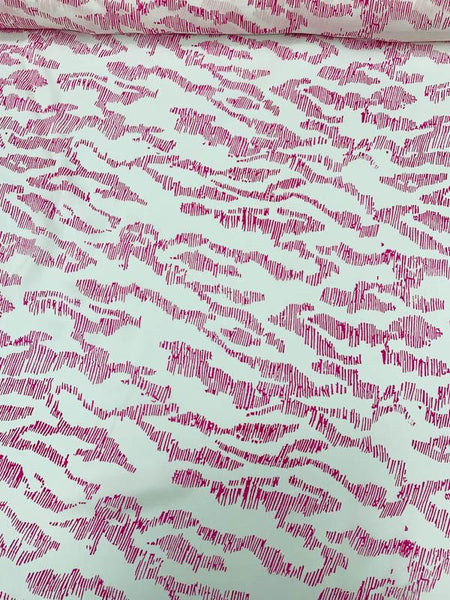 Abstract Sketch Printed Silk Georgette - Magenta / White