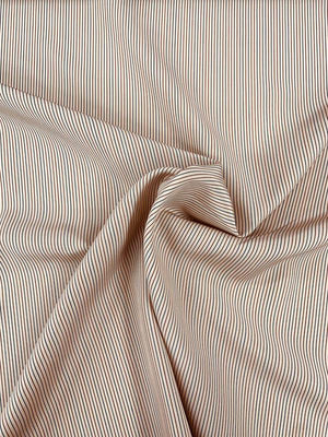 Vertical Fine Striped Printed Silk Broadcloth - Tan / Brown / Blue