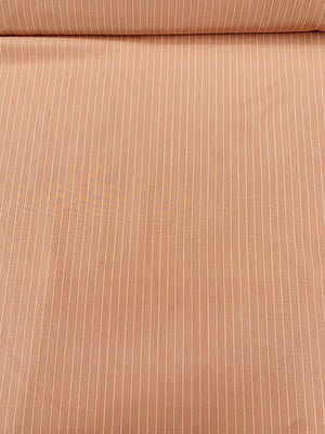 Vertical Thin Striped Printed Silk Broadcloth - Dusty Rose / White