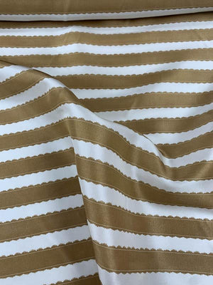 Horizontal Striped Printed Silk Habotai - Caramel Gold / White