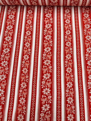 Vertical Striped and Floral Printed Silk Georgette - Red / White