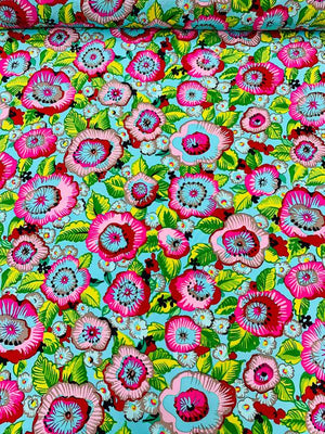 'Hawaiian Punch' Floral Printed Silk Crepe de Chine - Multicolor
