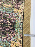 Double-Border Abstract Painterly Printed Silk Crepe de Chine - Earthy Multicolor