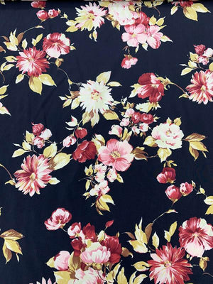 Romantic Floral Printed Silk Crepe de Chine - Maroon / Yellow / Black