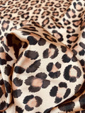 Leopard Printed Silk Charmeuse - Tan / Black