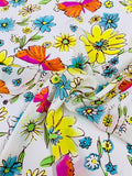 Butterfly and Floral Watercolor Printed Silk Crepe de Chine - Yellow / Blue / Orange / Pink / White
