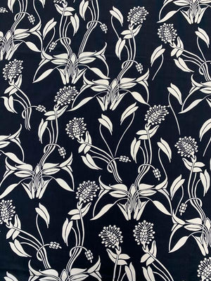 Floral Stalks Printed Silk Crepe de Chine - Black / White