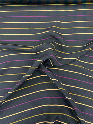 Horizontal Striped Printed 2-Ply Silk Crepe - Navy / Plum / Baby Pink / Brown