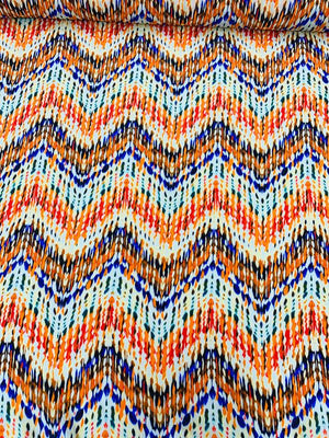 Ethnic Chevron Printed Silk Crepe de Chine - Orange / Purple / Multicolor