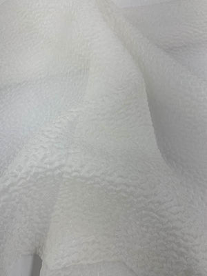 Pebbly Textured Novelty Organza - White
