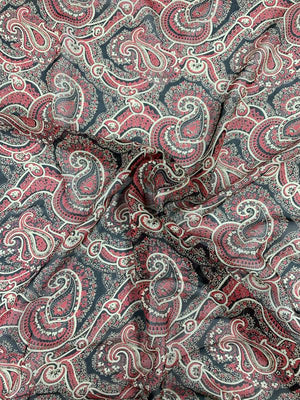Paisley Printed Silk Chiffon - Red / Tan / Black