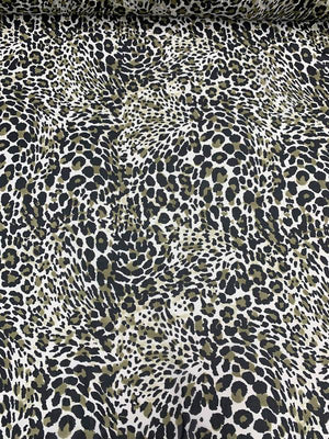 Leopard Pattern Printed Silk Chiffon - Black / Olive / Off-White