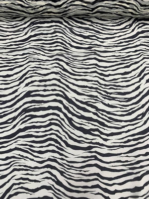Zebra Pattern Printed Silk Chiffon - Black / Off-White