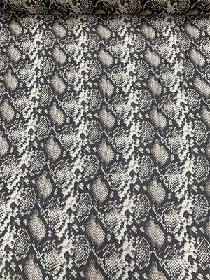 Snakeskin Pattern Printed Silk Chiffon - Chocolate / Tan