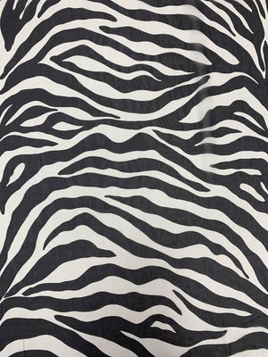 Bold Zebra Pattern Printed Silk Chiffon - Black / Off-White