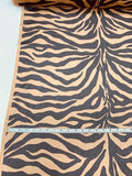 Bold Zebra Pattern Printed Silk Chiffon - Milk Chocolate / Black