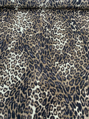 Leopard Pattern Printed Silk Crepe de Chine - Dark Taupe / Black / Brown / White