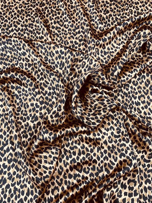 Cheetah Pattern Printed Silk Charmeuse - Deep Nude / Black