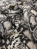 Snakeskin Pattern Printed Silk Crepe de Chine - Tan / Brown / Beige