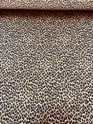 Cheetah Pattern Printed Heavy Silk Charmeuse - Deep Nude / Black