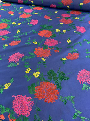 Famous NYC Designer Floral Pattern Taffeta - Blue / Red / Magenta / Green