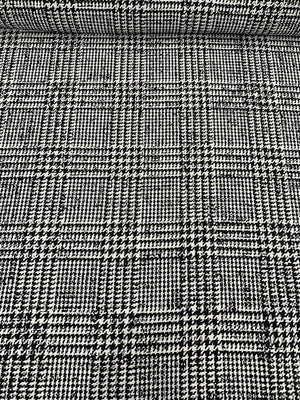 Large-Scale Glen Plaid Houndstooth Wool Suiting - Black / White