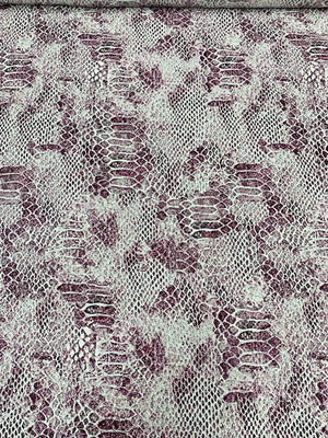 Reptile Pattern Matte-Side Printed Silk Charmeuse - Plum / White