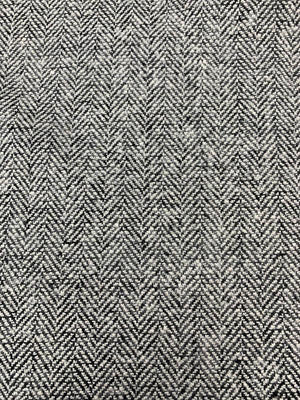 Herringbone Fused-Back Wool Coating - Off-White / Black