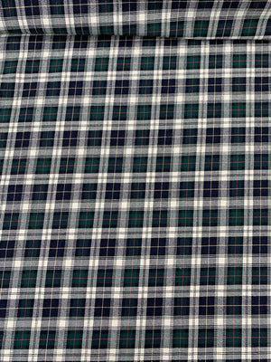 Classic Plaid Woven Yarn-Dyed Cotton Shirting - Navy / Green / White / Yellow / Red