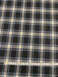 Classic Plaid Flannel Wool Suiting - Grey / Blue / Ivory