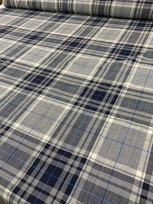 Large-Scale Plaid Light-Weight Wool Suiting - Navy / Ivory / Blue