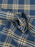 Plaid Heavy Twill Cotton Suiting - Navy / Mustard