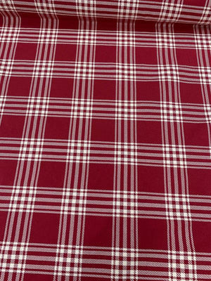 Plaid Heavy Twill Cotton Suiting - Red / Ivory