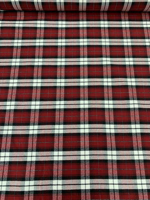 Plaid Cotton Suiting - Red / White / Black