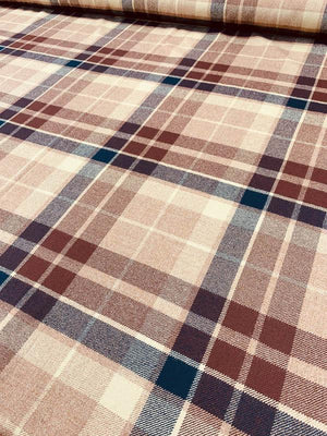 Large-Scale Plaid Flannel Wool - Mocha / Chocolate / Navy