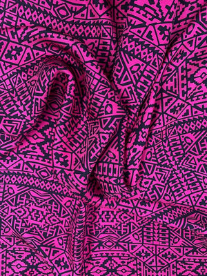 Ethnic Pattern Printed Silk Twill - Magenta / Black