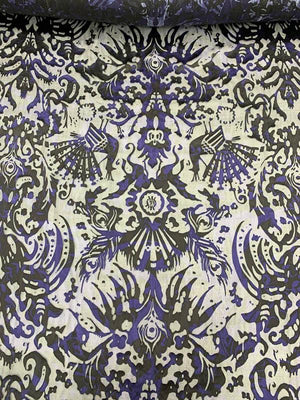 Damask-Like Printed Burnout Chiffon - Black / Deep Purple