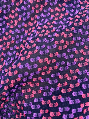 Novelty Textured Burnout Silk Chiffon - Pink / Purple / Navy