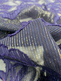 Floral Burnout Chiffon with Metallic Pinstripe - Navy-Purple / Navy / Gold / Silver