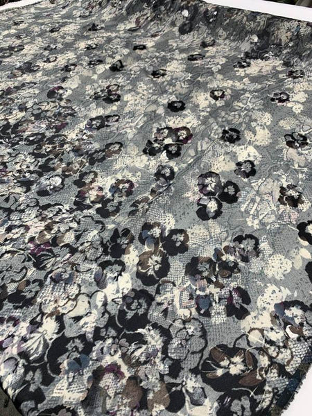 Novelty Snakeskin Printed Floral Burnout Silk Chiffon - Grey / Ivory / Blue / Violet