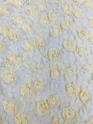 3D Floral Rosettes on Tulle - Butter Yellow
