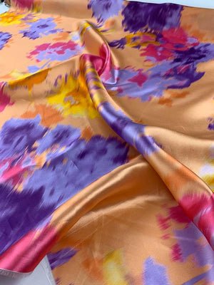 Abstract Design Light-Weight Silk Zibeline - Salmon / Purple / Magenta / Orange