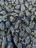 J Mendel Textured Circle Clusters Metallic Brocade - Navy / Royal Blue / Silver / Gold