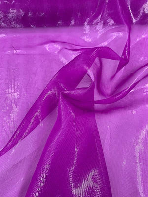 Novelty Lame Jacquard Silk Organza - Hot Purple